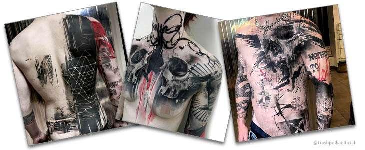 Ejemplo de tatuaje de lunares de basura