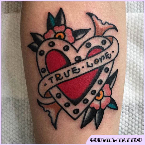 cuore old school tattoo