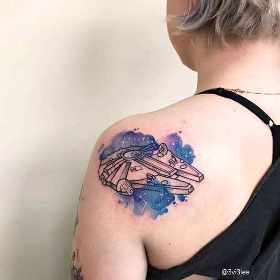 astronave Idee Tatuaggi Watercolor