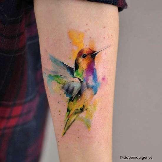 colibrì Idee Tatuaggi Watercolor