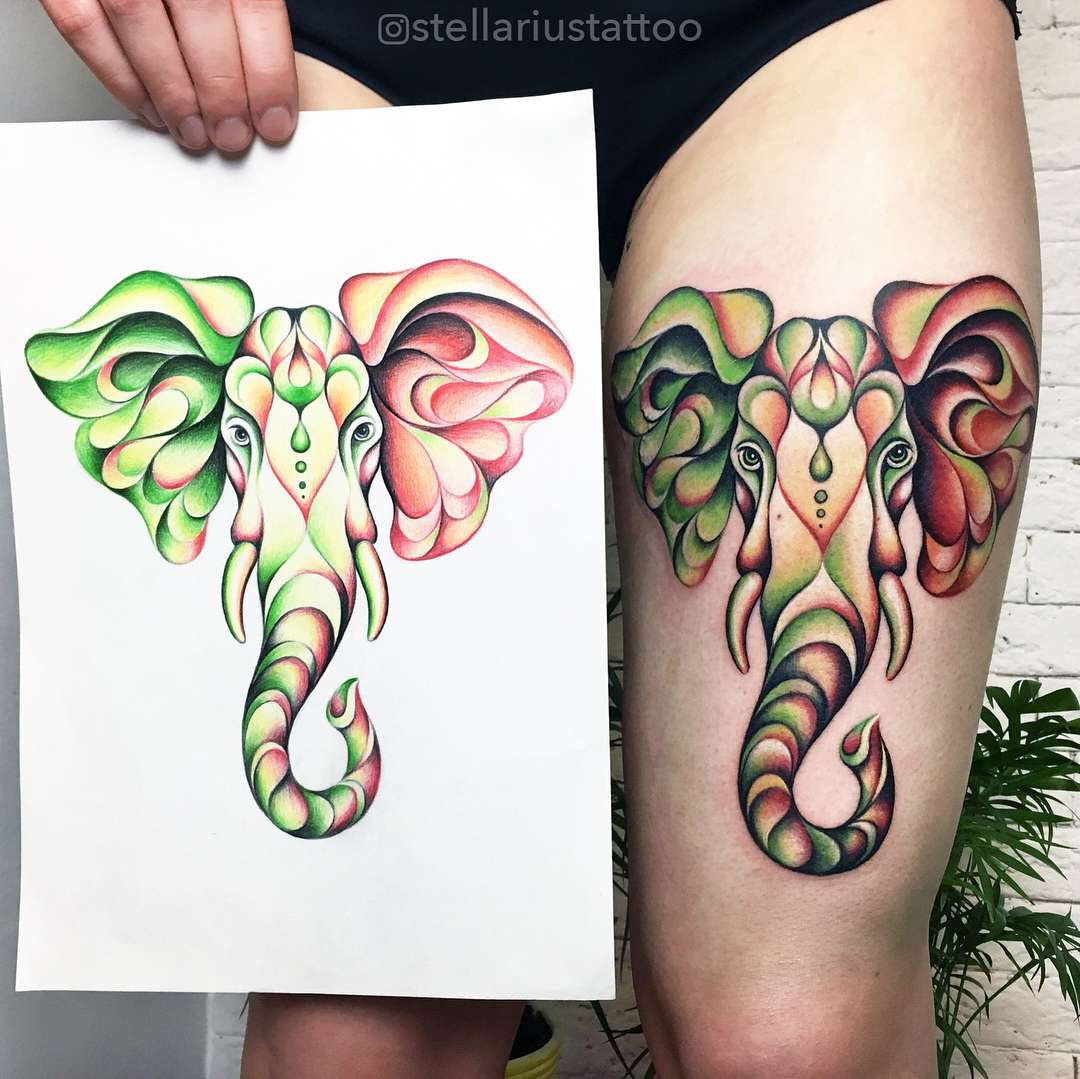 tattoo elefante multi colore