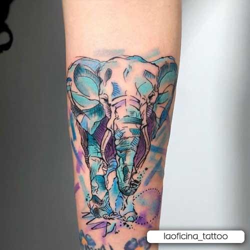 tattoo elefante watercolor