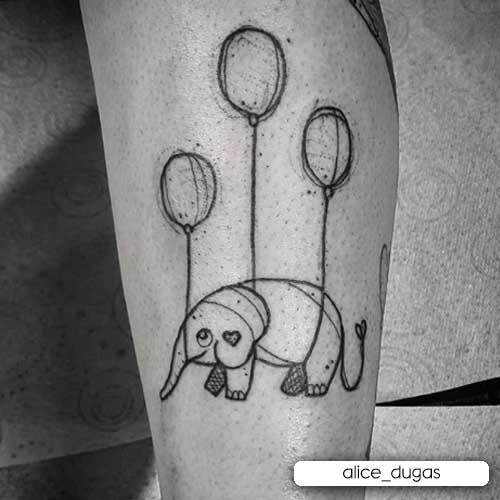 tattoo elefante sketching