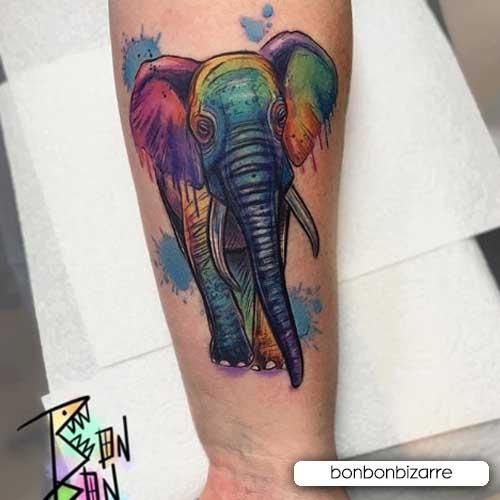 tattoo elefante dipinto