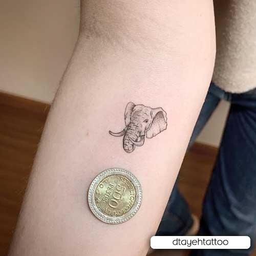 tatuaje realista de mini elefante