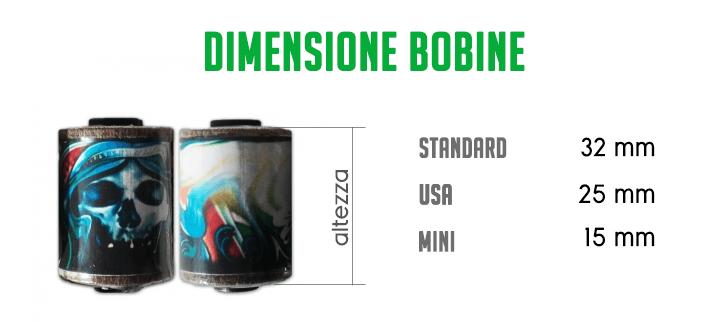 Dimensione bobine - macchinetta a bobine