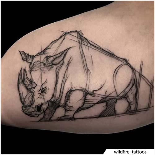 tatuaggio rinoceronte sketching