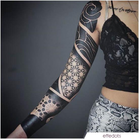 mandala e blackwork braccio destro