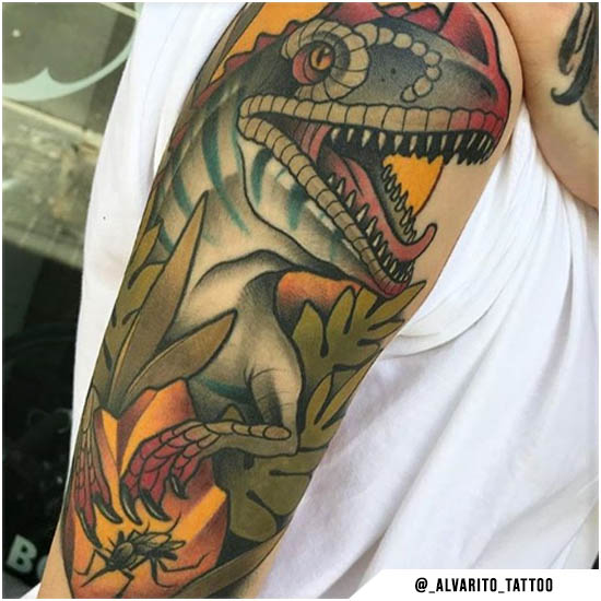 Dinosauro new school tattoo