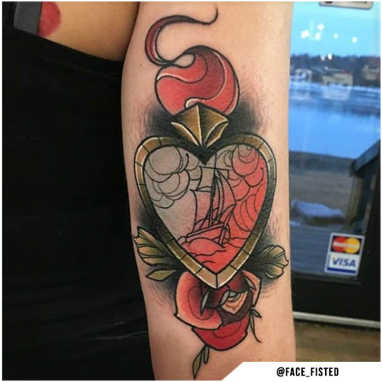 Cuore new school tattoo