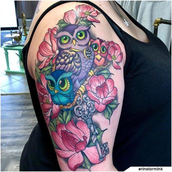 Tatuaggio Famiglia Gufo