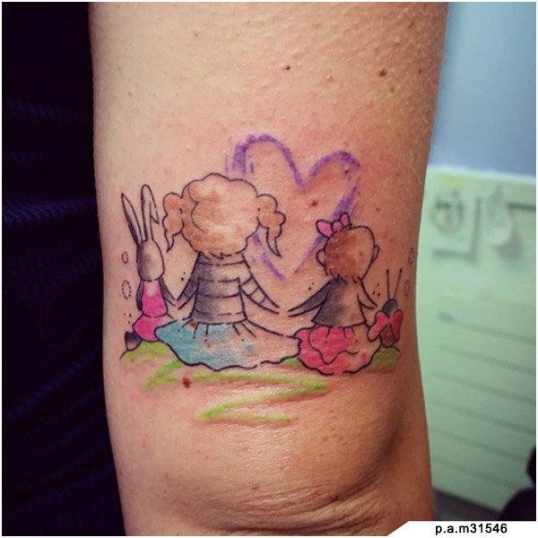 idee tattoo famiglia bambine coniglio