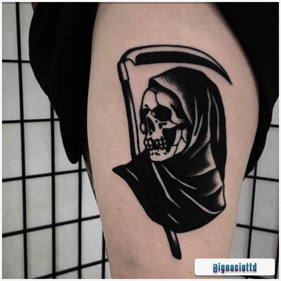 Blackwork Tattoo Death