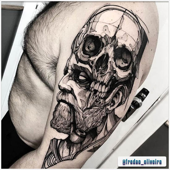 Blackwork Tattoo Skull-man