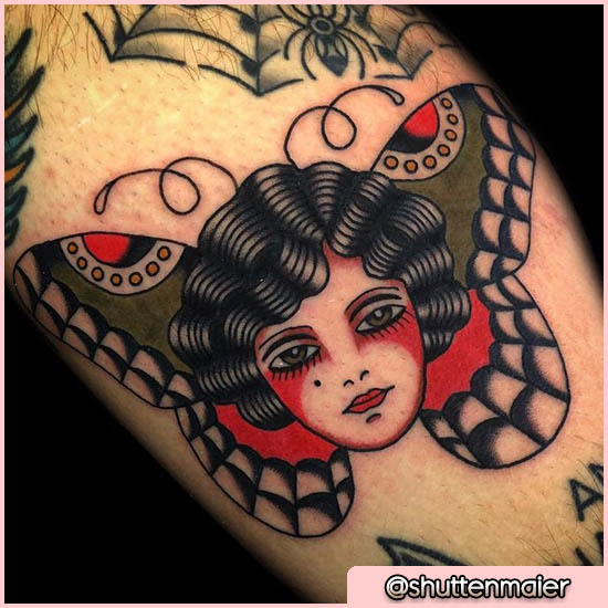 Donna Falena Tattoo Old School
