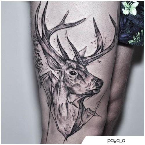 tatuaggio cervo nero