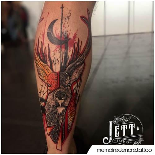 tatuaggio cervo in tecnica mistica