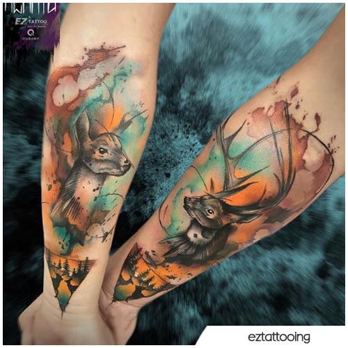tatuaggio cervo di coppia watercolor