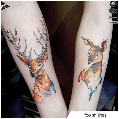 tatuaggio di coppia con cervo