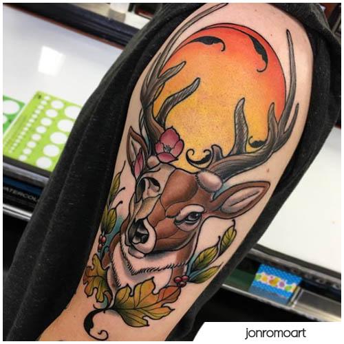neo traditional tatuaggio cervo