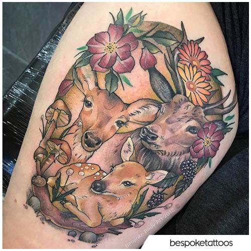 tatuaggio famiglia cervo