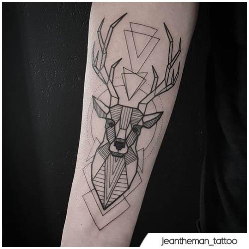 lineart geometrico tatuaggio cervo