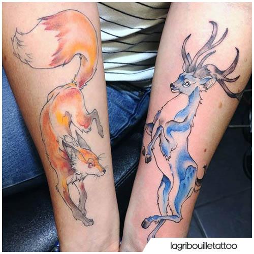 tatuaggio cervo e volpe