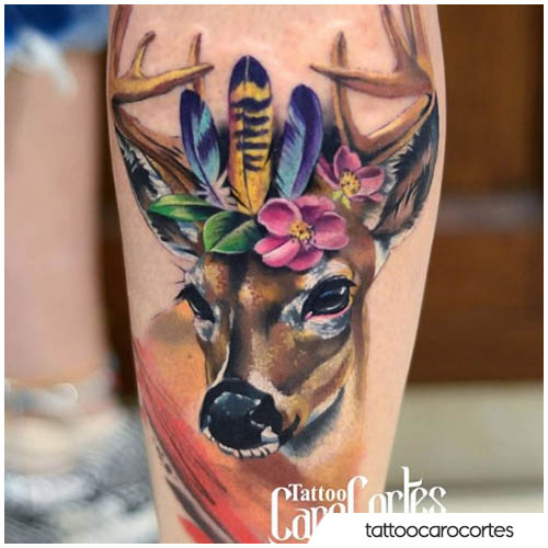 deer painting tattoo