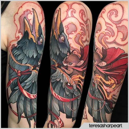 teresa sharpe tattoo corvo con scoiattolo