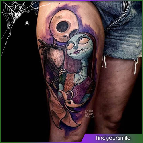 Jack e Sally Halloween tattoo