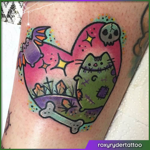 Zombie pusheen Halloween tattoo