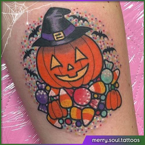 Zucca con cappello da strega Halloween tattoo