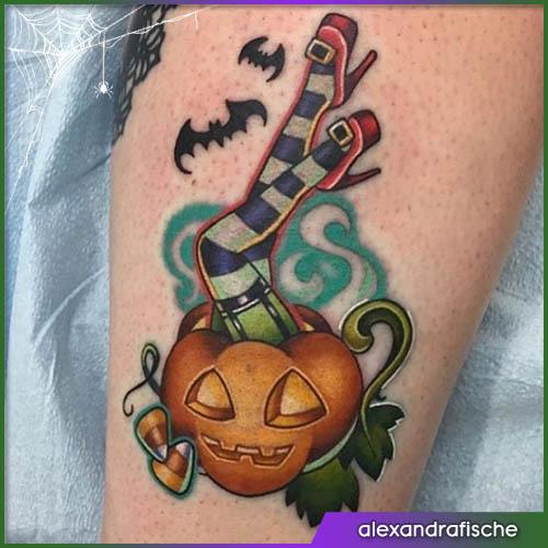 Gambe zuccose Halloween tattoo