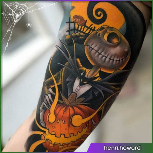 Jack Nightmare before Christmas Halloween tattoo