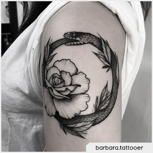Ouroboros floreale sulla spalla