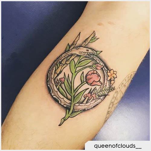 Tatuaggio serpente che si morde la coda