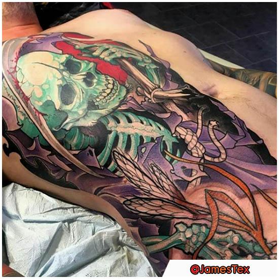 Tatuaje neotradicional de Santa Muerte