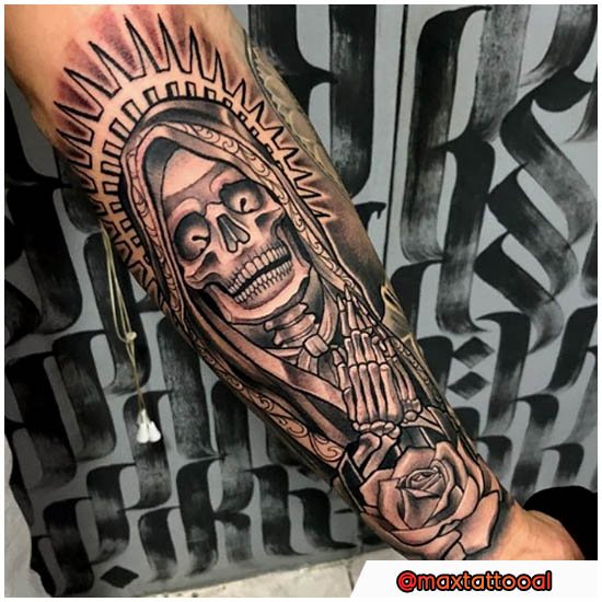 Santa Muerte Tattoo chicano e new school