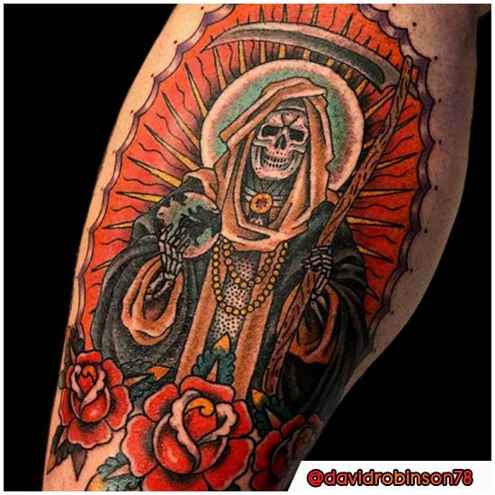Santa Muerte Tattoo old school