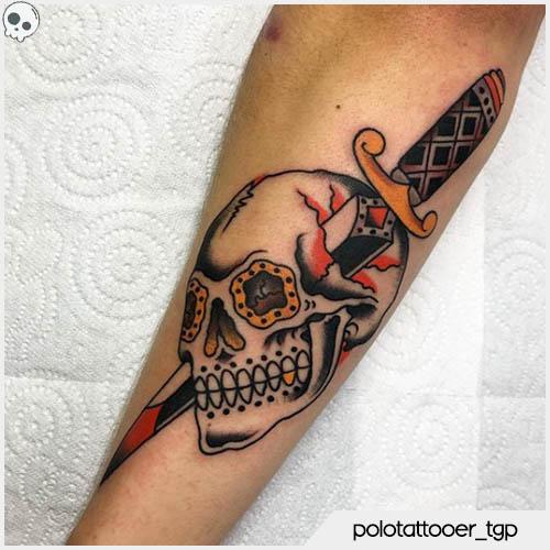 tatuaggio teschio tradizionale