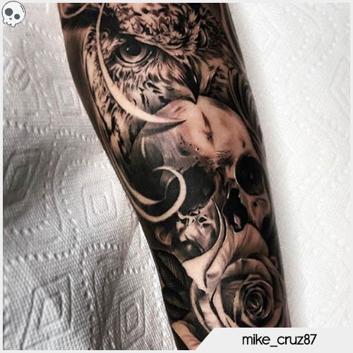 tatuaggio teschio realistico