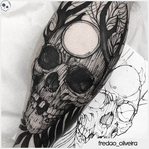 tatuaggio teschio oliveira