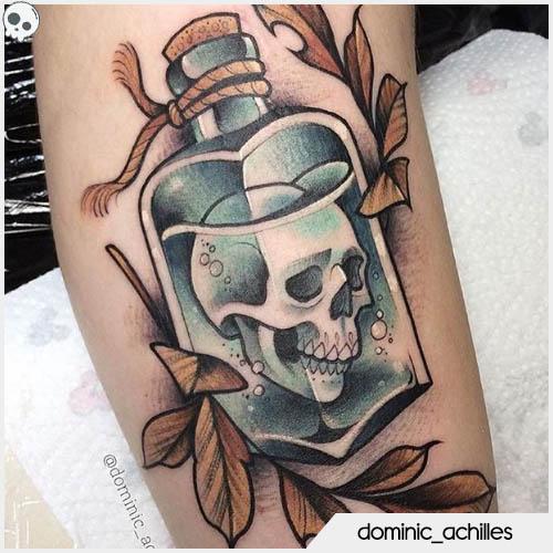 skull tattoo bottiglia