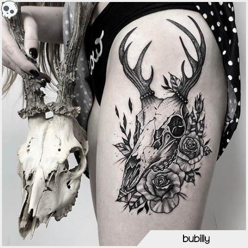 tatuaggio teschio cervo