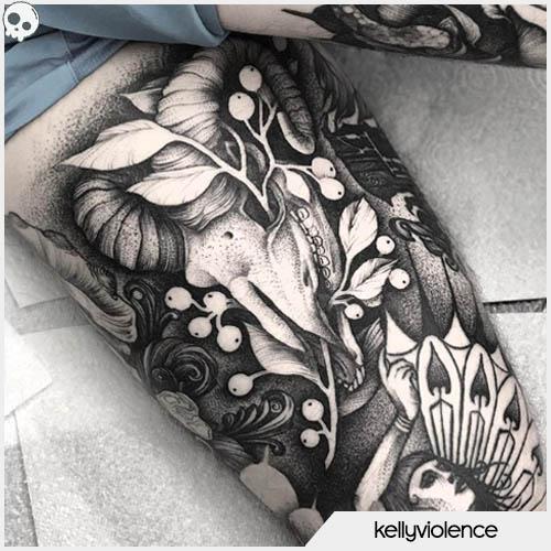 tatuaggio teschio di capra