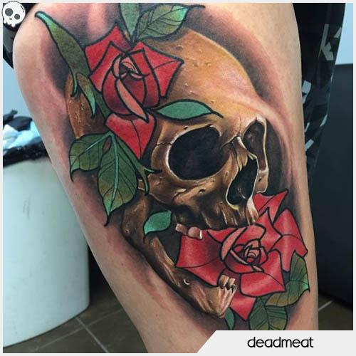 tatuaggio teschio tecnica mista