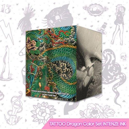 Conjunto de tintas de tatuaje de color de dragón