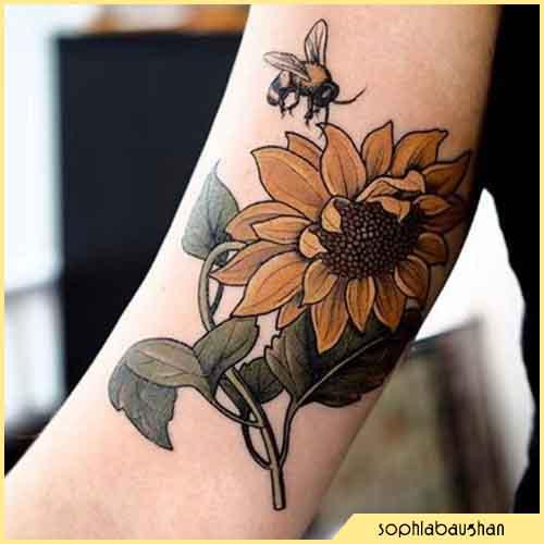 Tatuaggio Ape girasole