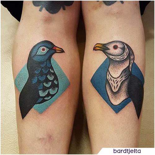 tatuaggio gabbiano e piccione