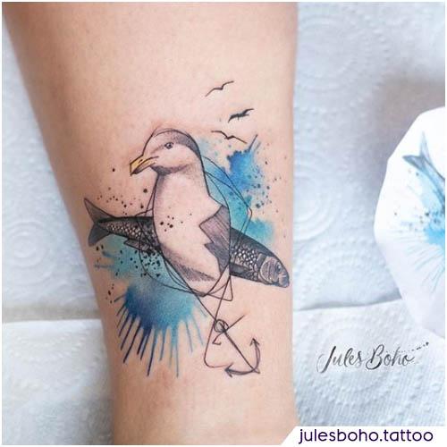 tatuaggio gabbiano sketch watercolor